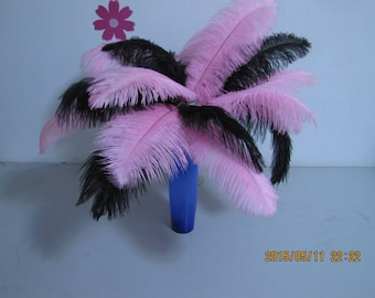 100pcs Pink & black  Ostrich Feather Plume for Wedding centerpieces,