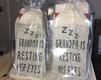 Do not disturb | Novelty socks | Funny Socks | Comfy Socks | Custom Socks | Grandpa is resting his eyes | Grandma is resting her eyes