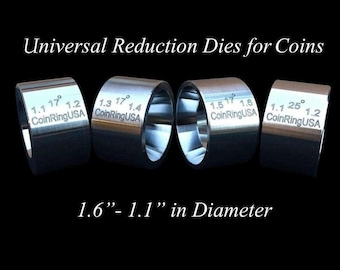 """The ORIGINAL 4-Die Set UNIVERSAL Reduction/Folding Dies, 1.1"""" - 1.6"""" @ 17 Degrees, and a """"Fat Tire"""" Die 1.1"""" x 1.2"""" @ 25 Degrees"""