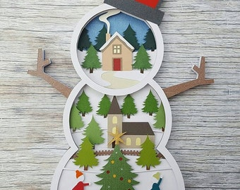 winter village snowman diy layered 3d shadow box papercut template printable pdf with step by step tutorial
