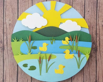 four little ducks diy shadow box papercutting template layered cut your own printable pdf with step by step tutorial
