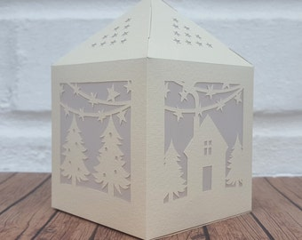 halloween spooky paper lantern diy template cut your own etsy