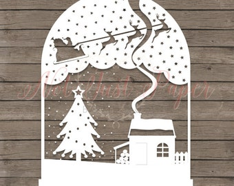 snow globe papercutting template festive printable pdf cut your own christmas papercut template for personal use
