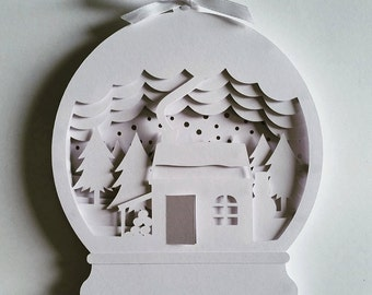 Christmas Snow Globe DIY Layered 3D Shadow Box Papercut Template Printable PDF With Step-by-Step Tutorial