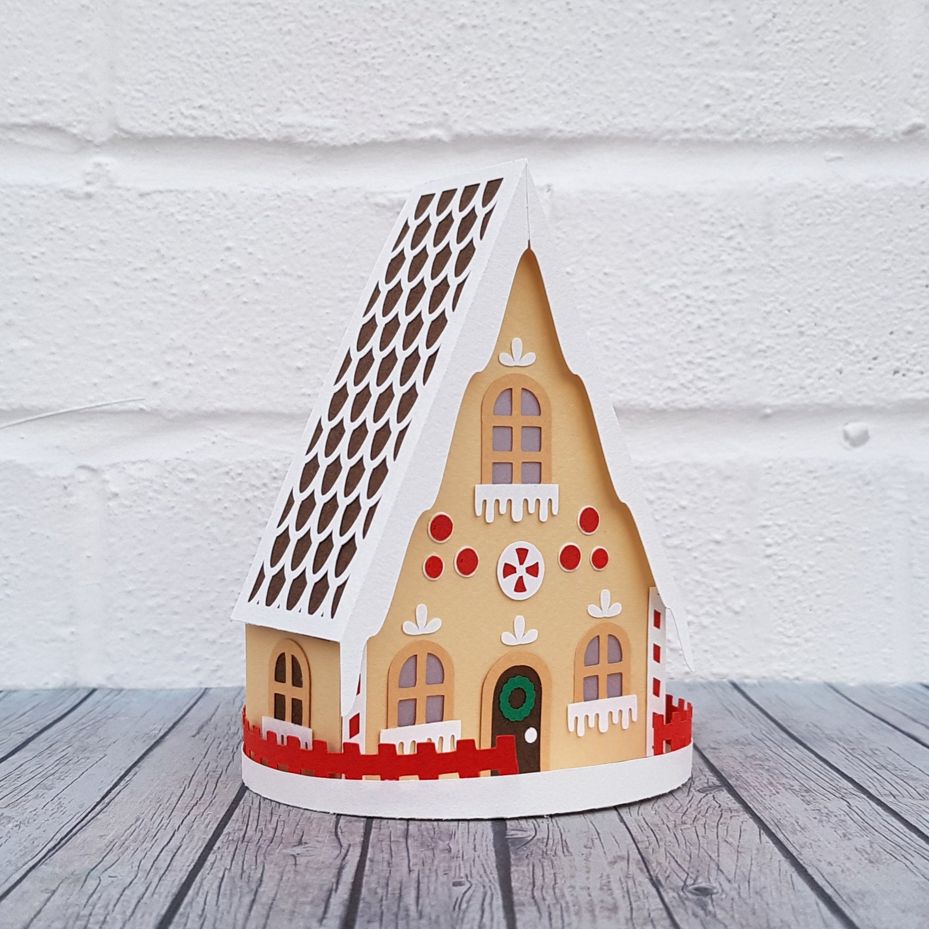 3D Gingerbread House DIY Papercutting Template Paper Craft