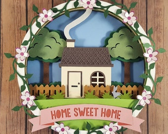 Home Sweet Home Cut Your Own DIY Layered 3D Shadow Box Papercutting Template Printable PDF With Step-by-Step Tutorial