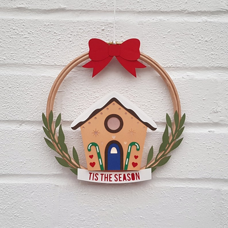 Tis The Season Gingerbread House Wreath DIY Papercutting Template Paper Craft Printable PDF Step By Step Tutorial