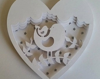Mummy & Baby Bird DIY 3D Shadow Box Layered Papercut Template Printable PDF With Step-by-Step Tutorial - Beginner