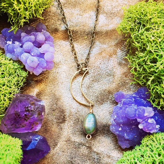 LUNA - Crescent Moon Necklace with Freshwater Pearl - wear two ways!