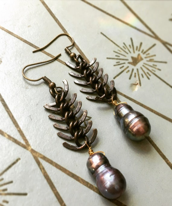 Piscine ~ Fishbone earrings with Freshwater Pearl