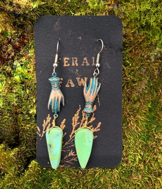 MANIBUS~ Hand Earrings with Seafoam Finish and Amazonite