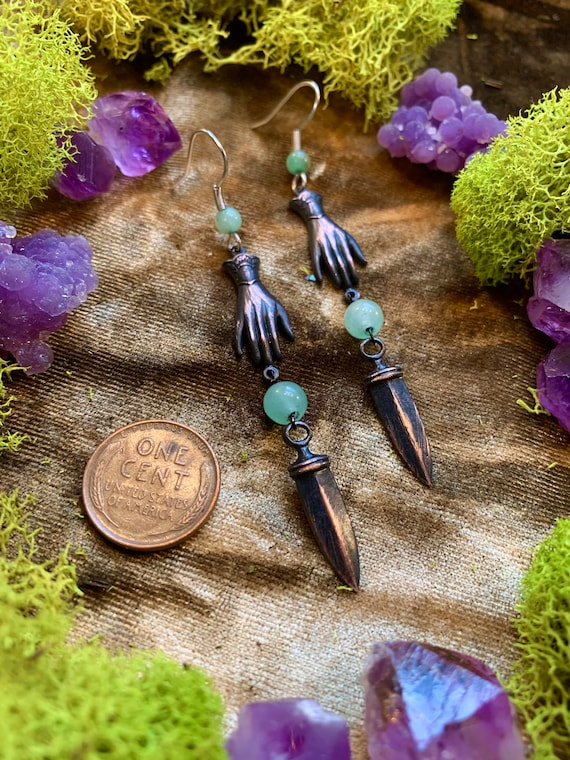 Hand Earrings with Daggers and Green Agate