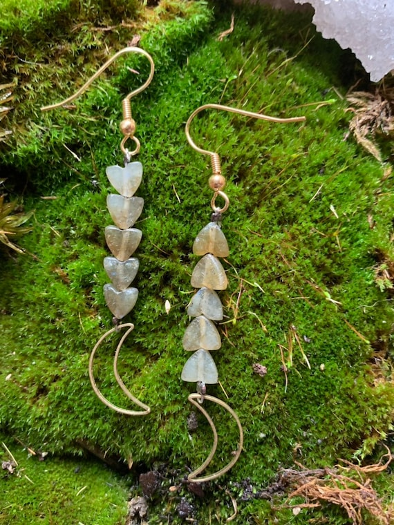 SELENE ~ Lunar earrings with Labradorite