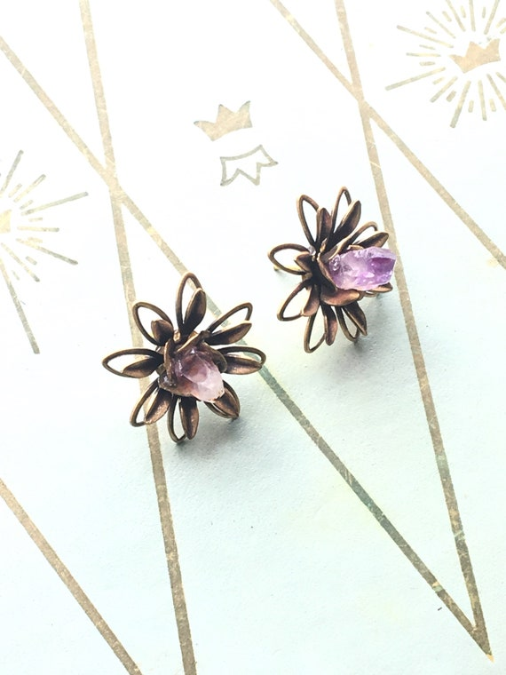 Laminae ~ Floral Stud Earrings with Amethyst Crystal
