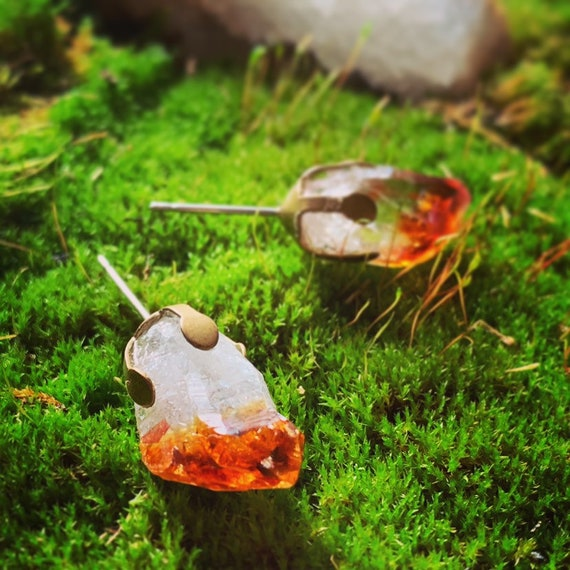RUDIS ~ Raw Citrine Stud Earrings