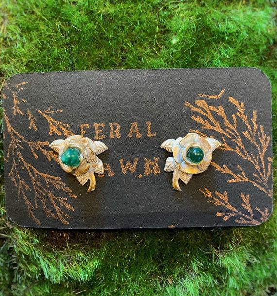 Brass Flower Stud Earrings with Chromium Crystal
