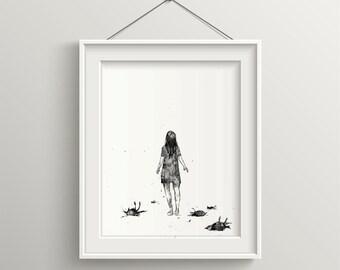Mooie minimalistische kunst meisjes wall art art decor etsy
