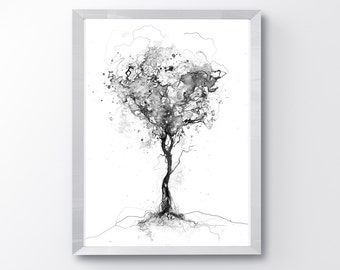 black and white tree etsy