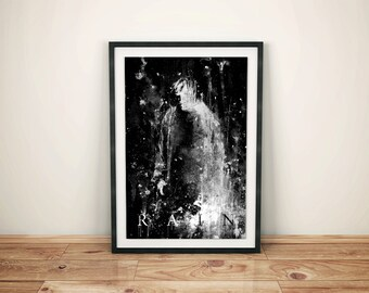 Rain, Black And White Art, Night Rain, Rain Art, Rain Lover, Rainy Days, Art Print, Wall Art, Contemporary Art, Rain Cloud Wall Prints, Word