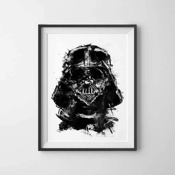 Darth Vader Star Wars Acrylique Peinture Impression Noir Et Blanc Lart De Star Wars Darth Vader Art Casque De Darth Vader Poster Affiche Star