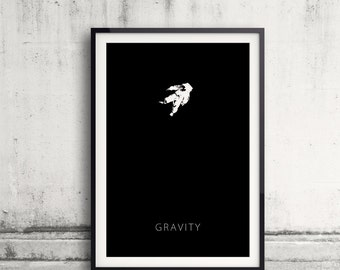Gravity Minimalist Movie Poster, Ink, Black and white, 11 x 17in