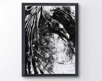 Messy Raven, Black And White Raven Art Print, Bird Poster, Crow Print, Raven decor, Bird Lover, Raven Painting, Black Bird Goth, Home Decor