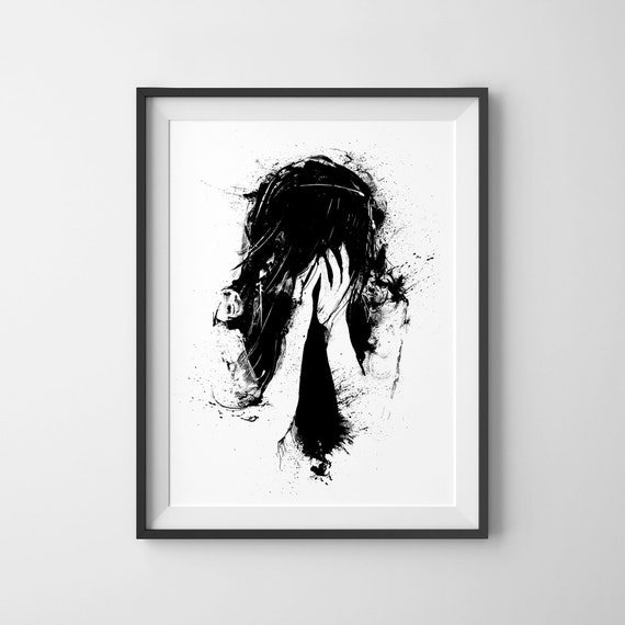 Sometimes Life Is Unfair Black And White Art Sad Girl Wall Art Surreal Abstract Crying Ink Drawing Ink Splatter Pen Ink Print Dark