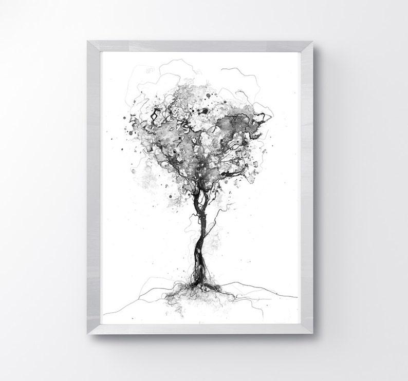Vaak Boom zwart-wit afdrukken minimalistische natuur Art boom | Etsy &CI56