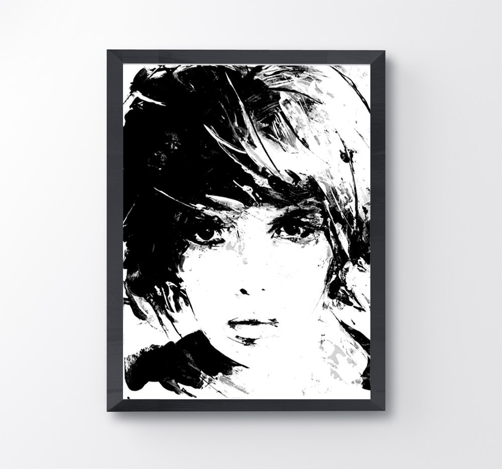 Girl in black and white acrylic painting print face art etsy