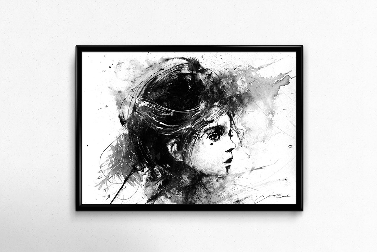 Girl in black and white acrylic painting print portrait art etsy