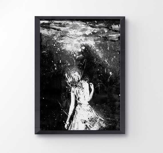 Mermaid Black And White Art Art Print Drown Girl In Water Contemporary Art Sad Art Water Art Abyss Wall Art Acrylic Painting