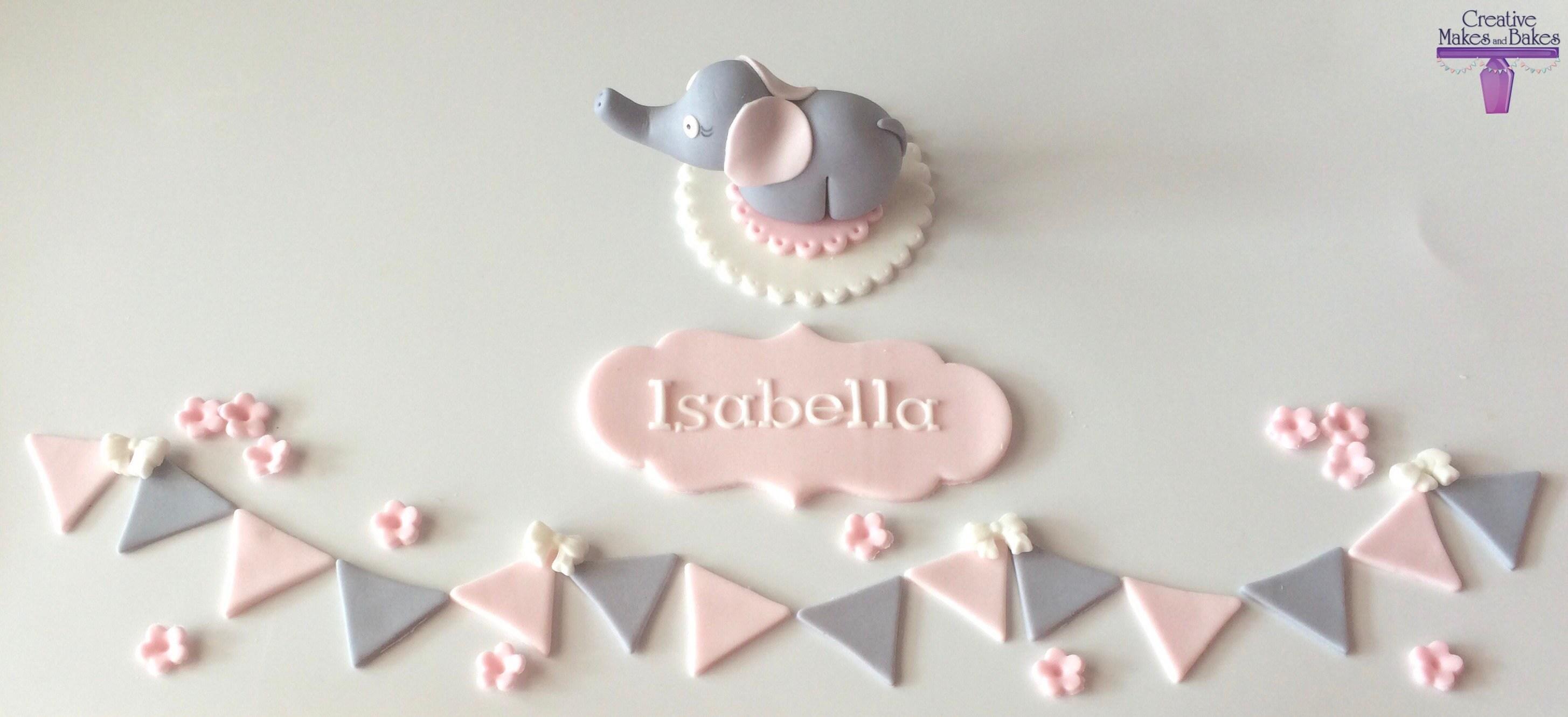 2f58ec52605bc Éléphant douche de bébé garçon fille comestible Cake Topper