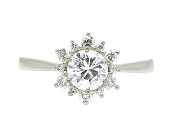 14k White Gold Floral Vintage Inspired Diamond Engagement Ring