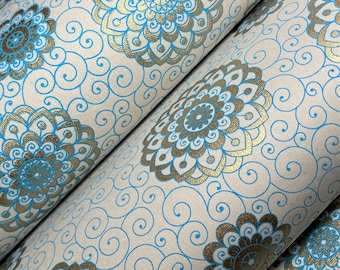 Turquoise & Gold Rangoli Recycled Luxury Handmade Gift Wrap/Wrapping Paper