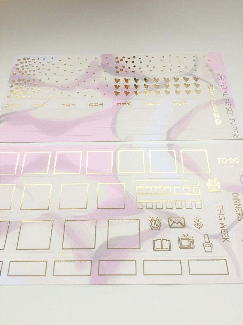Yellow Pink Abstract Foiled Hobonichi Weekly Planner Stickers