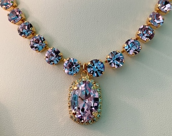 ALEXANDRITE Crystal PENDANT Necklace, Stunning Sparkle Purple Blue Color Changing Gold or Silver plated historic reproduction Georgian Paste