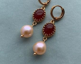 Real CARNELIAN Pearl Teardrop Earrings, historic reproduction Edwardian or Regency Earrings, 16k Gold plated LOOPS, Tiny CARNELIAN earrings