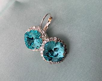 Light AQUA Statement Earrings, Swarovski rhinestones, Silver, shimmering light medium AQUA Swarovski crystal stones, Royal You