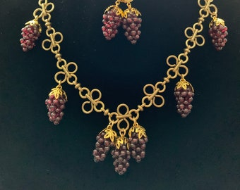 Reproduction 19th century Victorian Garnet grape cluster silver earrings Inspiration ORIGINAL Grape GARNET Earrings real Garnets Silver
