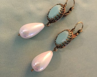 Last One, MINT Green OVAL and Pearls, Crystal stones, Antique brass plated brass FANCY Fixed Lever back Earrings, reproduction historic