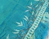 Aqua Silk Shawl, Gorgeous Aqua Silk embroidered Dupatta, FRINGE, stunning blue theread embroidery, medium aqua blue tones