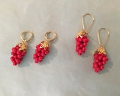 Red CORAL Grape Earrings, GEORGIAN, Reproduction 18th century Red Coral grape cluster earrings, 16K gold or Silver
