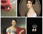 REAL Pearl Earrings, Sterling Silver Loops, Pair of reproduction early 19th century REAL pearl earrings, lovely glowing earrings
