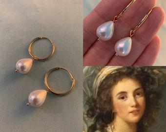 TEARDROP Shell Pearl HOOPS, Gold Hoop Pearl Earrings, faux Teardrop Pearls, Shell Pearls, Reproduction multi Era Gorgeous pearl earrings