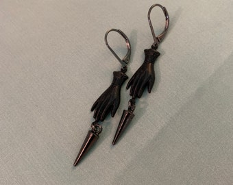 Victorian MOURNING Pendulum HAND Earrings, Gunmetal plated historic Reproduction Victorian Hand Jewelry, Long Hollow HAND Torpedo earrings