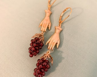 Victorian Garnet GRAPE Gold HAND Earrings, 16k gold plated historic Reproduction Victorian Hand Jewelry, Long Gold Hollow HAND earrings