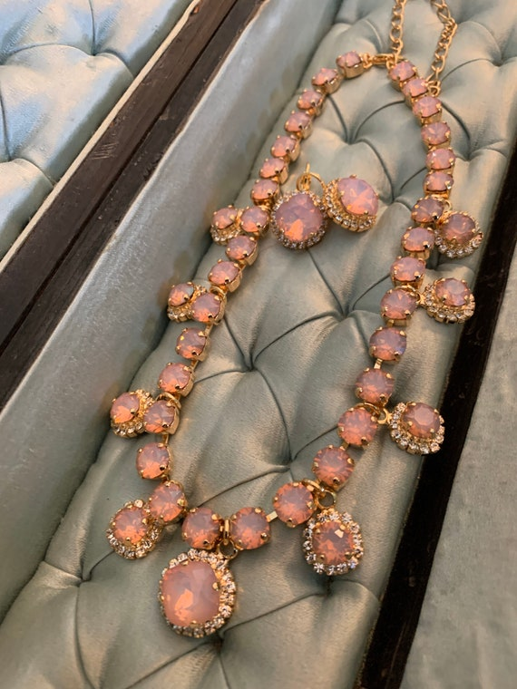 Vintage Crystal Statement Necklace Champagne Gold GORGEOUS! Opal