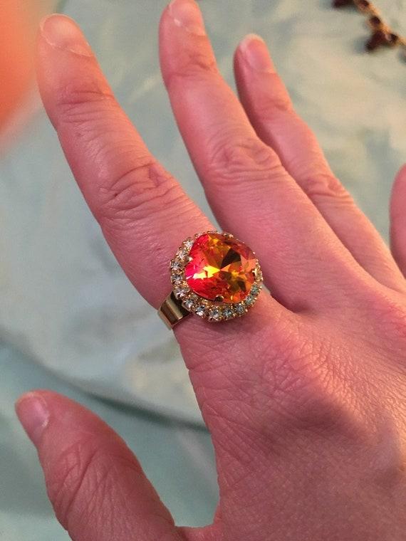 FIRE Opal Ring, Gold oder Silber, Swarovski seltene Feuer Steine, schimmernde rot orange und gelb Swarovski Kristall, Reproduktion Ring, Royal Sie