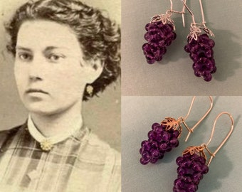 Premium Amethyst GRAPE Earrings by Lady Detalle historic Reproduction jewelry, Victorian real Amethyst Sterling Silver 925 or Vermeil Gold