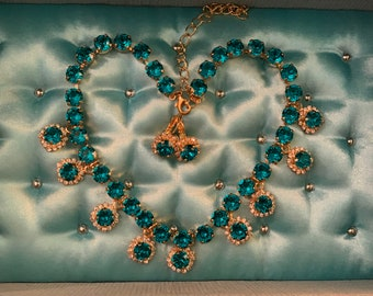 TEAL Blue Swarovski STATEMENT Necklace, Gold plated necklace, Optional Earrings or Parure, Teal Blue Swarovski STATEMENT necklace